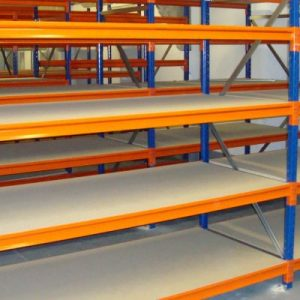 5 bays of new hand loaded longspan shelving (3000mm high x 400mm deep x 1500mm wide 5 shelves)